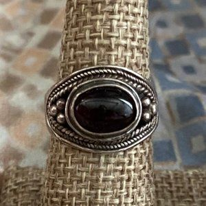 Silver Ring w/ Red Center Stone (Vintage)